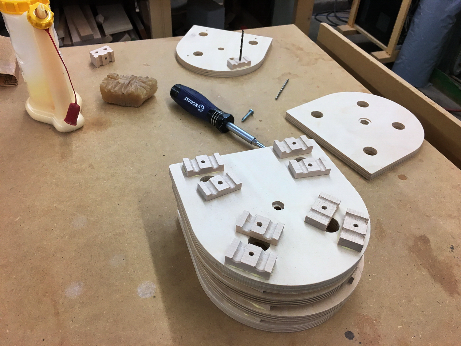 Video camera isolation mounts-004-gluing-clamps-place-drill-bit-alignment.jpg