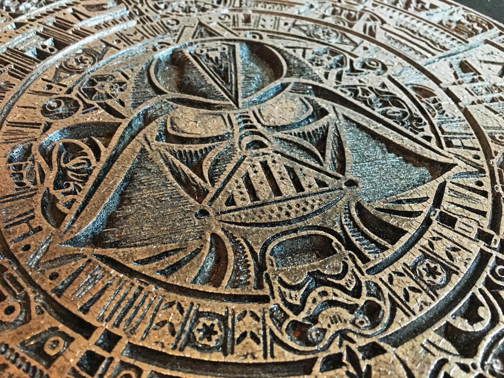 Star Wars Aztec calendar-006-star-wars-aztec-calendar-aged-look-close-up.jpg