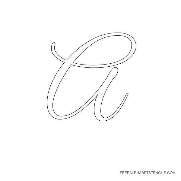 Click Image For Larger Version Name Alphabet Stencil Cursive A Views 2906 Size 213