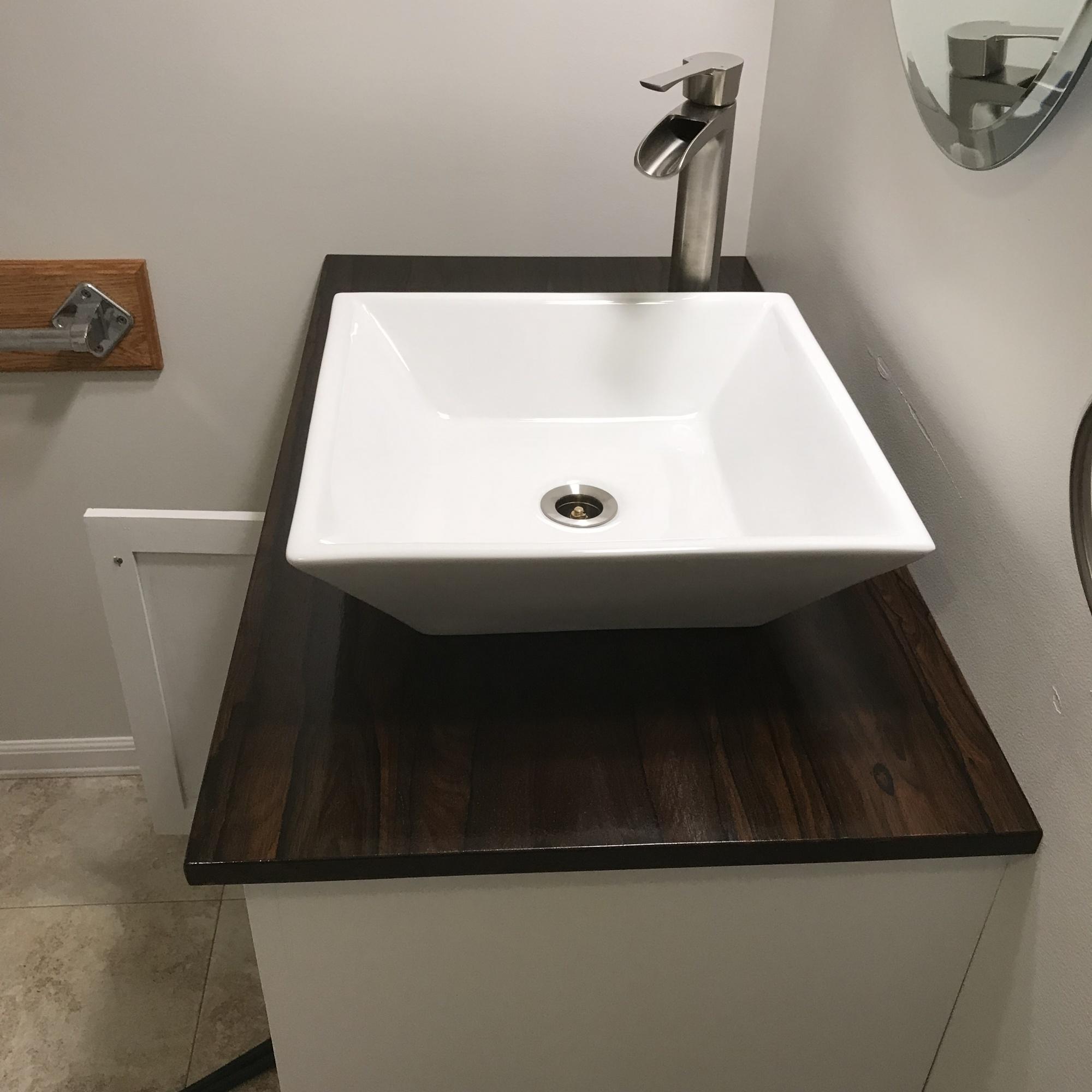 Drano Didn T Work Bathroom Sink: Zericote Vanity Top Under A Vessel Sink