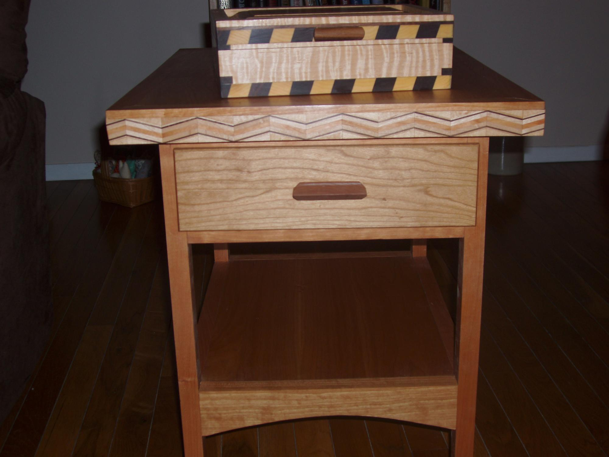 Click Image For Larger Version Name: Cherry End Table U0026 Stripped Maple  Box