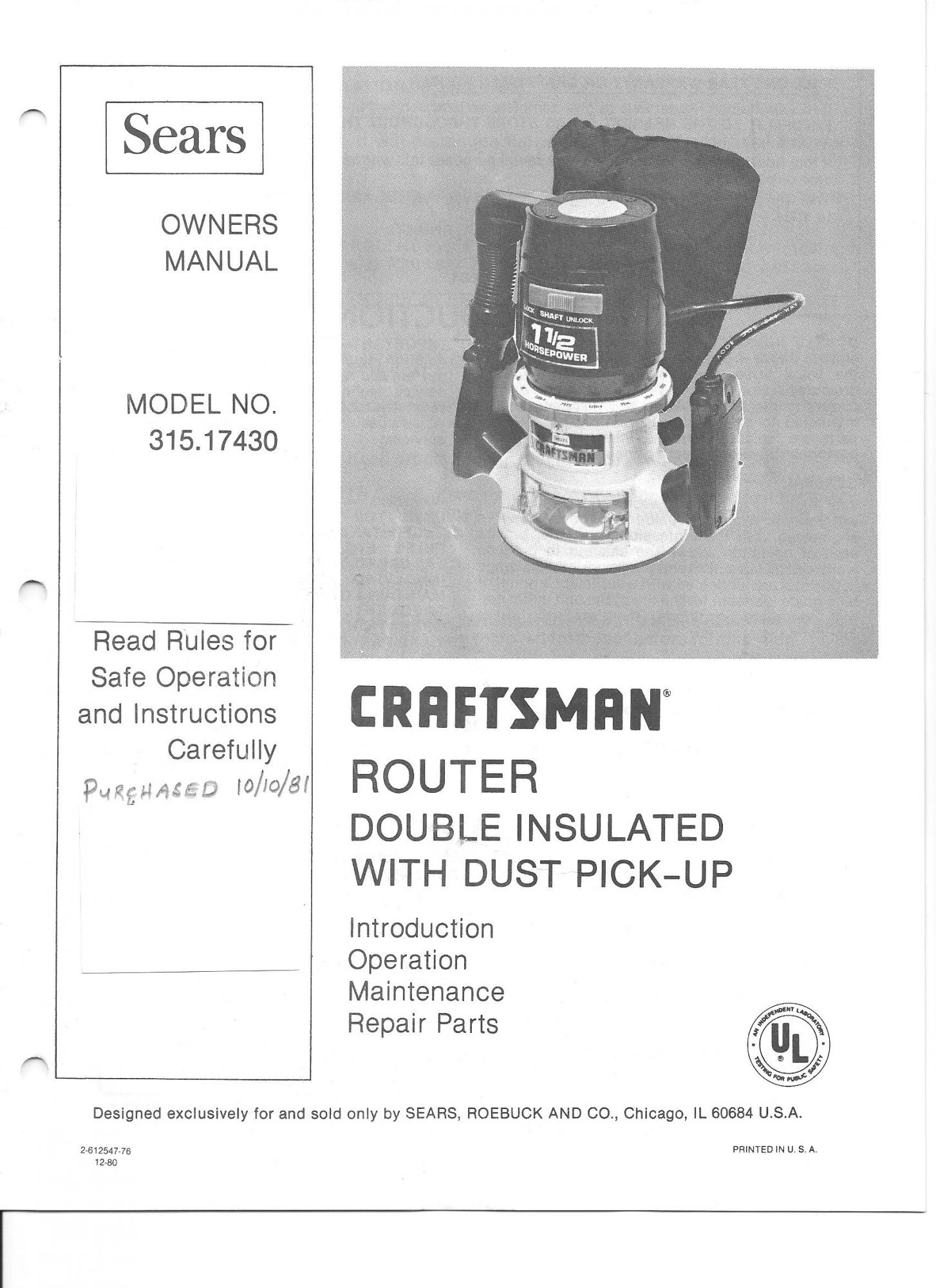 router craftsman manual 315 17430 router forums rh routerforums com sears craftsman router model 315 manual Sears Router Table Parts