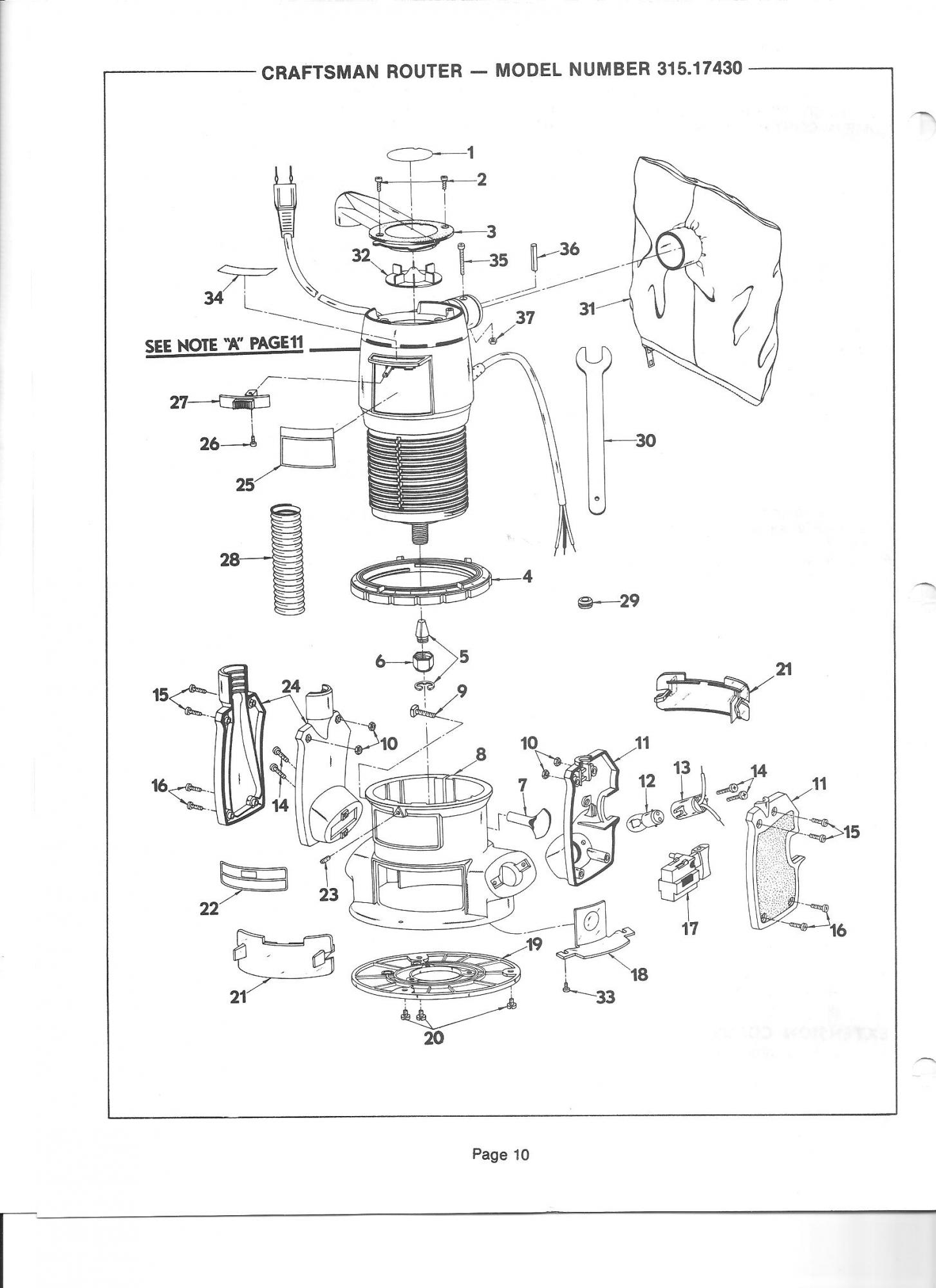router craftsman manual 315 17430 router forums rh routerforums com Craftsman Router Owner's Manual Craftsman Router Manual PDF