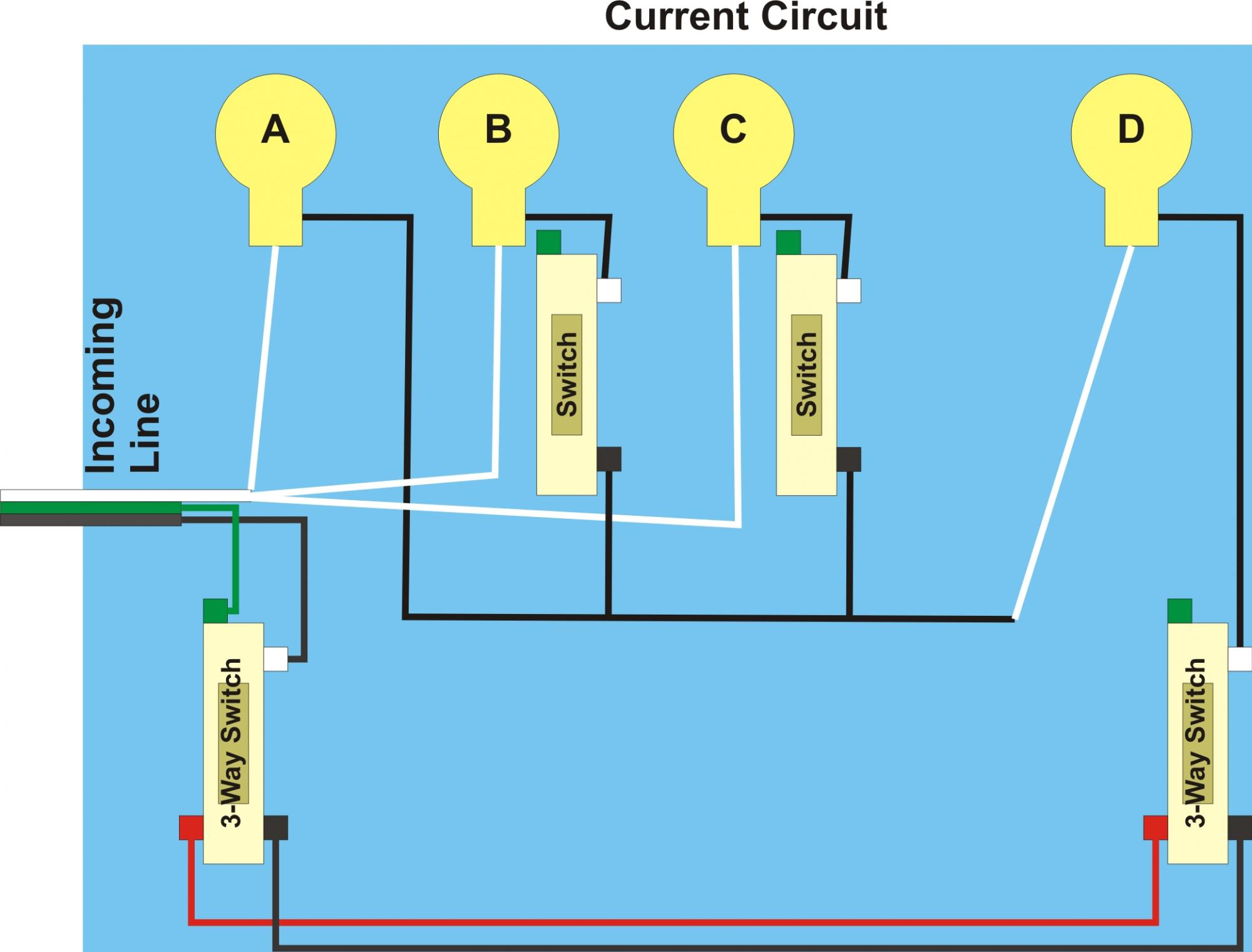 Parallel Circuit Lights Brightness Guide And Troubleshooting Of With Switch Currents In A Three Way Problem Router Forums Light Romex
