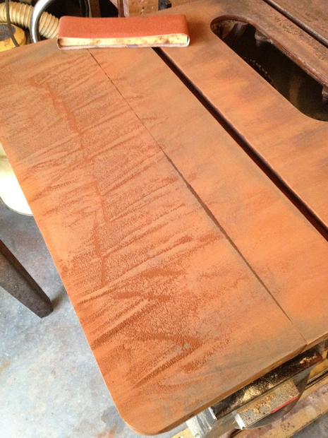 Restoration - Powermatic 66 Table Saw-dry-sanding-rust.jpg