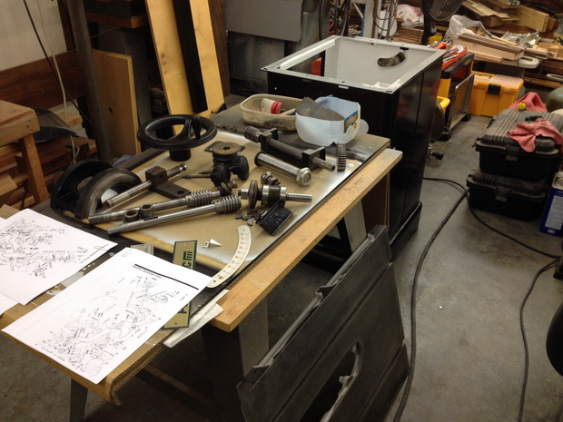 Restoration - Powermatic 66 Table Saw-parts-laid-out-assembly.jpg
