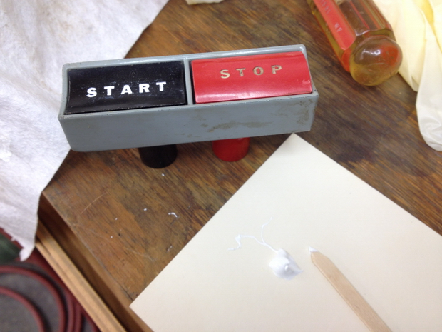 Restoration - Powermatic 66 Table Saw-start-stop-button-applying-paint.jpg