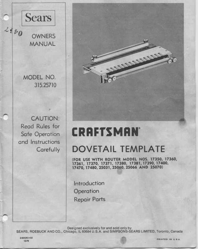craftsman dovetail jig 31525710 page 3 router forums