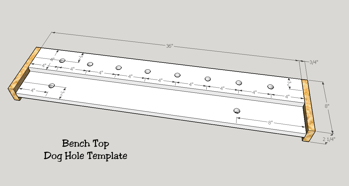 work bench dog hole template